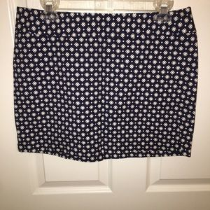 Old Navy navy & white patterned cotton mini skirt